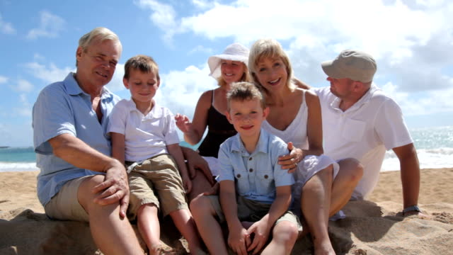 Portrait of multi-generation family at beach together HD 1080p:  Portrait of multi-generation family at beach together 50 59 years stock videos & royalty-free footage