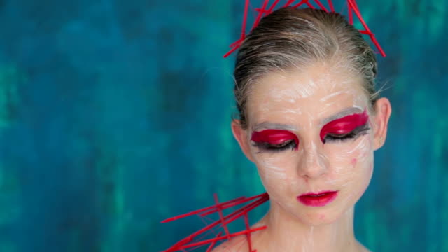 portrait of mysterious girl with creative make-up and elegant hairstyle - gothic fashion stock videos and b-roll footage