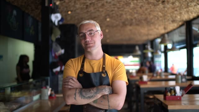 Portrait of Owner / Waiter at Restaurant Portrait of Owner / Waiter at Restaurant hipster stock videos & royalty-free footage