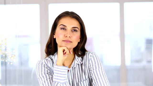 Portrait of Pensive Thinking Woman Gesturing Brainstorming video