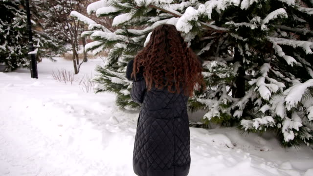 Portrait of pregnant girl in a park at a snowfall. video