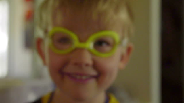 Portrait of ridiculous kid in goggles video