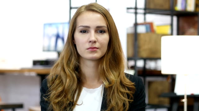 Portrait of Satisfied Working Girl at Work, in Office video