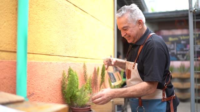 vídeos de stock, filmes e b-roll de retrato de plantas molhando do homem sênior - sul europeu