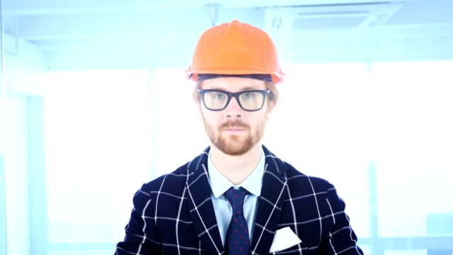 Portrait of Serious Architectural Engineer with Red Hairs video