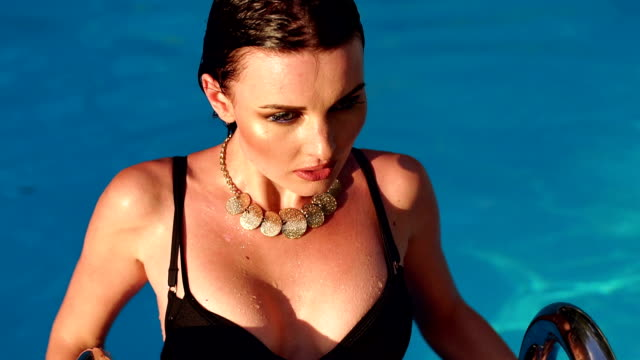 Portrait of sexy erotic wet girl in the pool. video