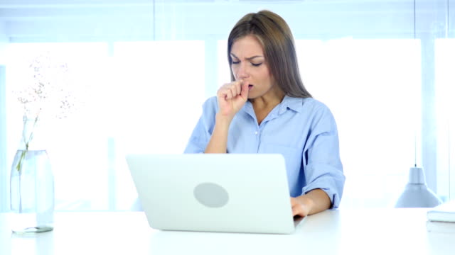 Portrait of  Sick Woman Coughing, Throat infection video