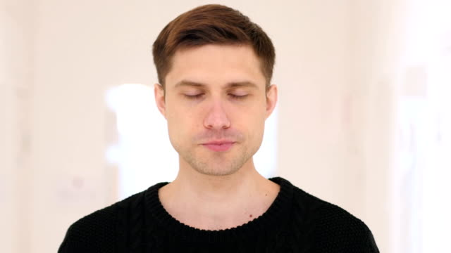Portrait of Sick Young Man Coughing, Cough video