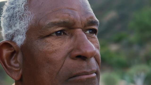 vidéos et rushes de verticale de l'homme aîné afro-américain de sourire dehors dans la campagne - portrait homme