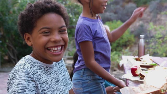 田舎の屋外テーブルで健康的なピクニックを食べる友人と笑顔の少年の肖像画 - ベジタリアン料理点の映像素材/bロール