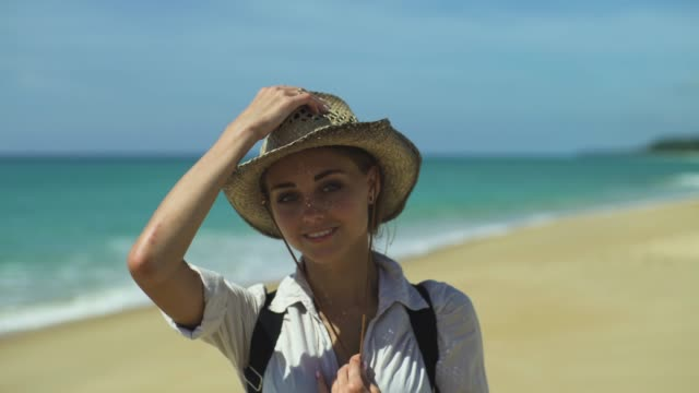 Portrait Of Smiling Female By The Sea video