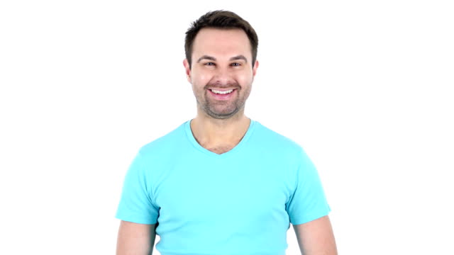 Portrait of Smiling Middle Aged Man, White Background video