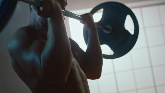 Portrait of the Handsome Muscular Man Doing Curls with a Barbell. Athletic Shirtless Man Training, and Doing Power, Strength, Endurance Exercises with Barbell. Workout in the Hardcore Gym