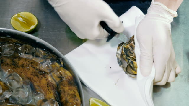 Portrait of the process of opening the shell of an oyster video