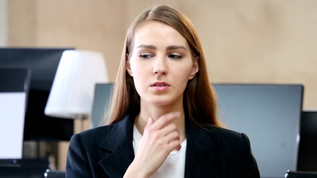 Portrait of Thinking Woman in Office video