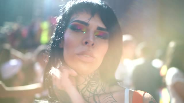 Portrait of transgender woman during LGBTQI parade Portrait of transgender woman during LGBTQI parade transgender stock videos & royalty-free footage