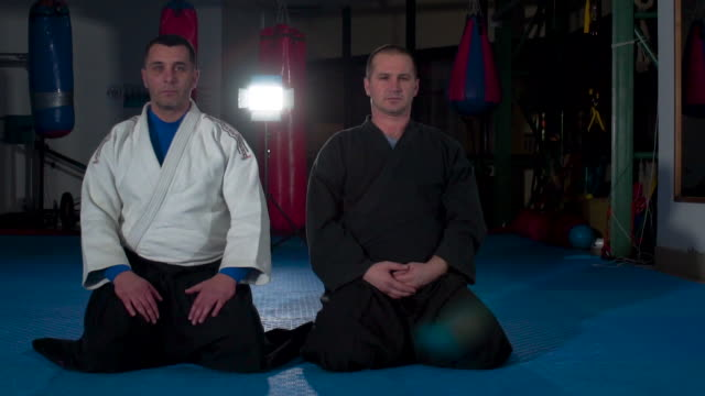 Portrait of two aikido trainers