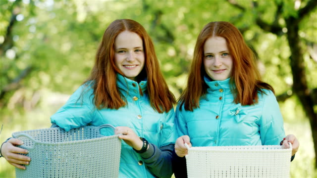 Portrait of two cute twin girls. They hold boxes of fruit in their hands, stand on the background of the apple orchard, the background is blurred video