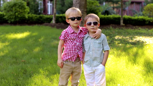 portrait of two fashionable little brothers in a summer park. - brother stock videos and b-roll footage