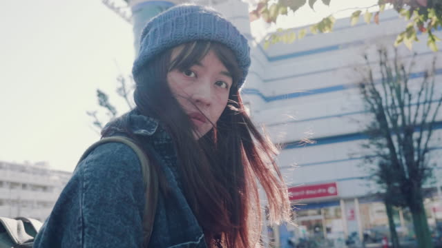 portrait of young asian woman outdoors - hipster stock videos and b-roll footage