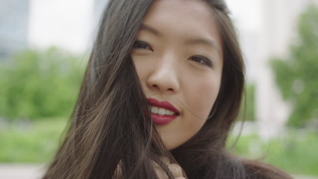 Portrait of young asian woman video