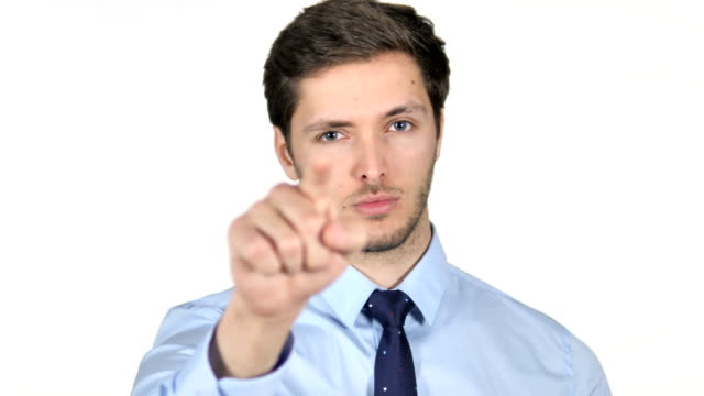 Portrait of Young Businessman Pointing at Camera