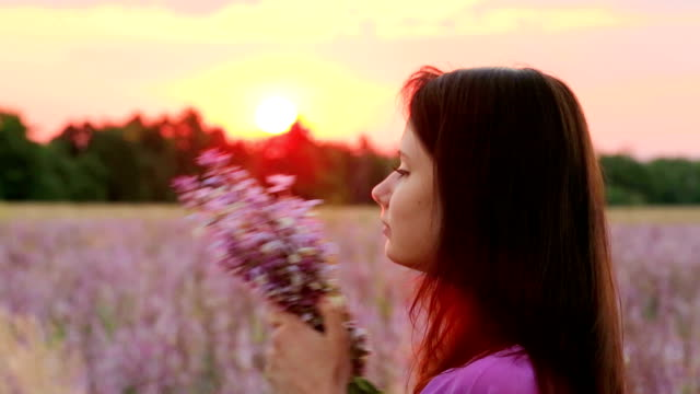 Portrait Of Young Girl In Lavender Field video