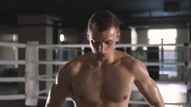 Portrait of young man after hard training video
