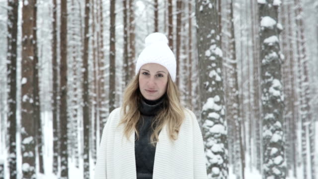 Portrait Of Young Woman In Winter Forest video