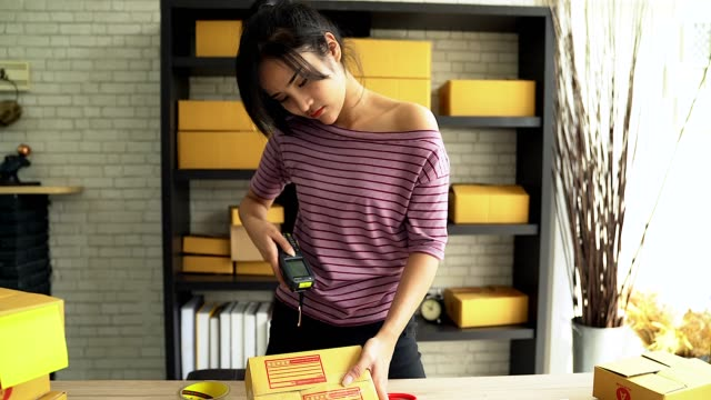 Portrait Of young women business owner standing and reading the barcode in home office doing small business.