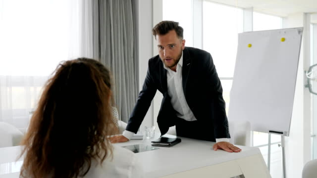 portrait rageful executive at table, Angry boss with Office subordinate in boardroom, Problems on work video