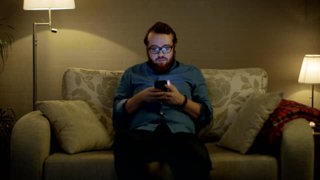 portrait shot of a man sitting on a sofa in his living room, using smartphone. floor lamps are turned on. - guy sofa video stock e b–roll