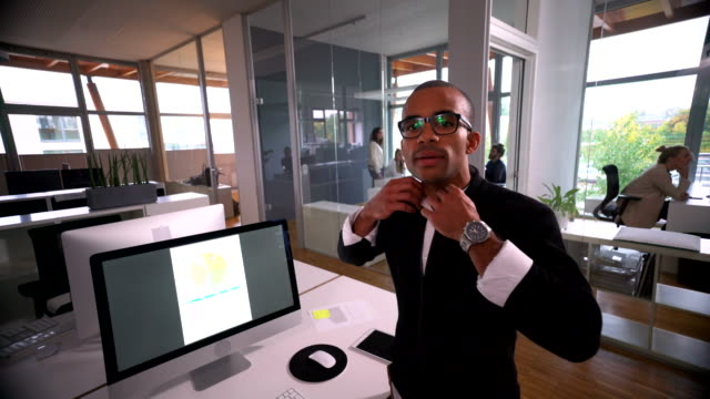 Portrait shot of young african-american businessman at office video