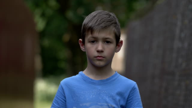 portrait teen boy looking at camera in the countryside, not smiling, fooled video