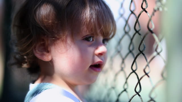 Portrait toddler boy leaning on metal fence watching game