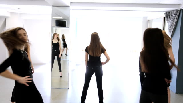 Portrait view of women changing poses in model school video
