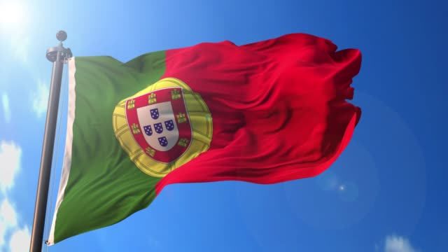 vídeos de stock e filmes b-roll de portugal animated flag pack in 3d and green screen - portugal