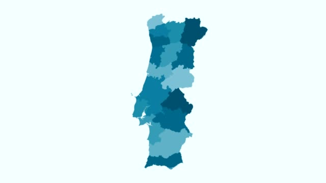 vídeos de stock e filmes b-roll de portugal - blue tone animated country map - mapa portugal