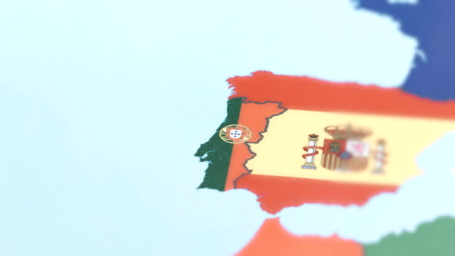 Portugal Borders wiht National Flag on World Map