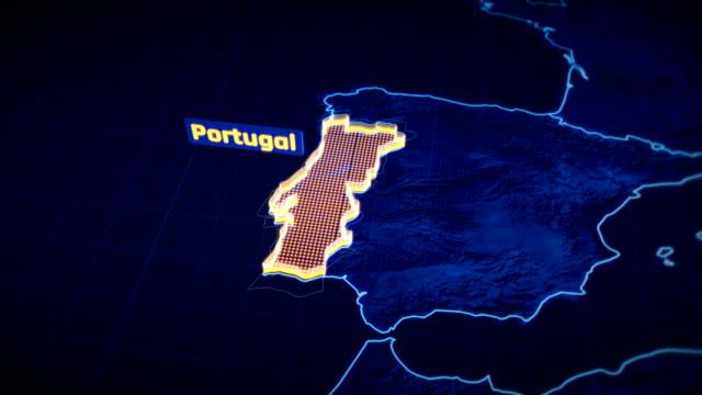 vídeos de stock, filmes e b-roll de portugal país fronteira visualização 3d, esboço de mapa moderno, viajar - país área geográfica