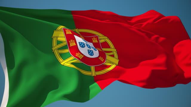 vídeos de stock e filmes b-roll de 4 k-loopable bandeira de portugal - portugal