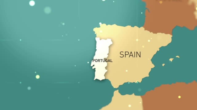 Portugal on World Map stock video