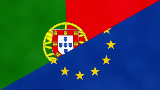 vídeos de stock e filmes b-roll de portuguese and europe split flag. brexit concept of portugal leaving european union. - resultados lisboa