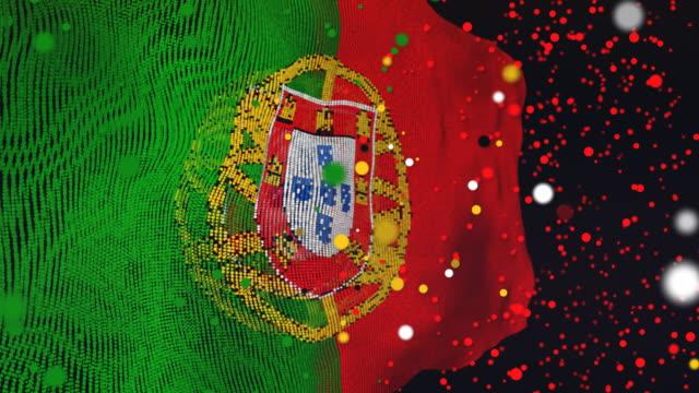 vídeos de stock e filmes b-roll de portuguese flag particle animation - ronaldo