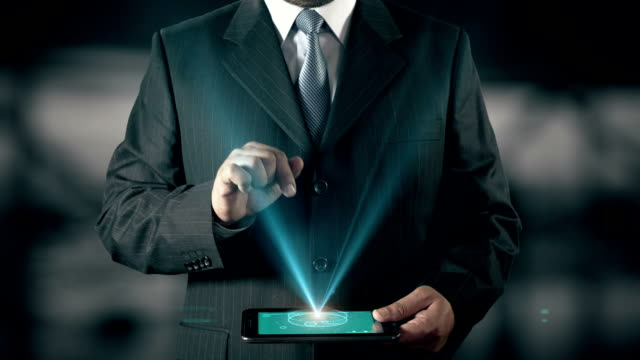 Portuguese Language Choose Businessman using digital tablet technology futuristic background video