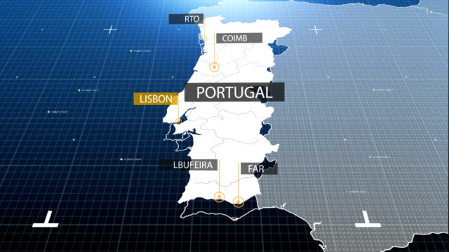vídeos de stock e filmes b-roll de portuguese map with label then with out label - portugal