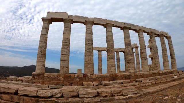Poseidon Temple at Cape Sounion in Greece near Athens, Ancient architecture in Peloponnese Poseidon Temple at Cape Sounion in Greece near Athens, Ancient architecture in Peloponnese sounion stock videos & royalty-free footage