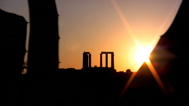 Poseidon Temple in Cape Sounion Poseidon Temple in Cape Sounion sounion stock videos & royalty-free footage