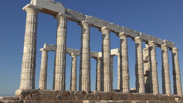 Poseidon's Temple Cap Sounio, Greece Poseidon's Temple in Cap Sounio, Greece sounion stock videos & royalty-free footage