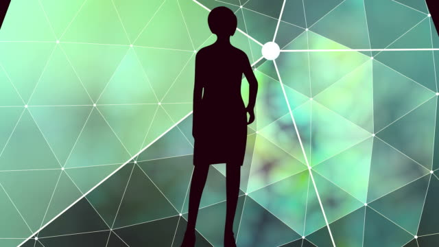 Posing lady silhouette Posing young woman. Keyhole with woman silhouette. Polygonal animated background. Connected lines with dots. keyhole stock videos & royalty-free footage